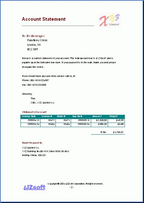 statement of account template sle account statement template best template design