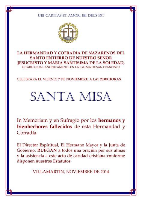 modelo como invitar a misa de los difuntos la hermandad de las monta 241 as y del santo entierro convocan