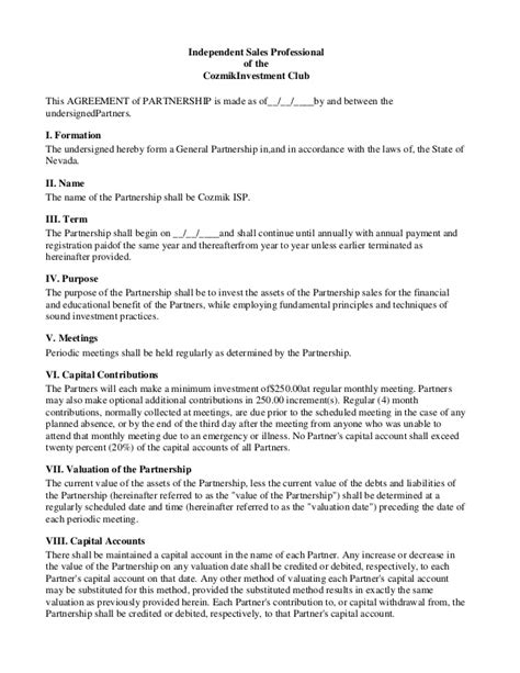 Investor Agreement Contract by Investor Contract