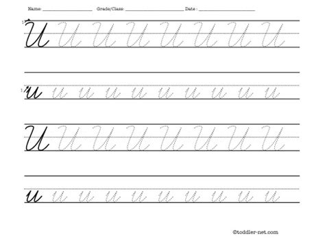 letter u tracing printable tracing worksheet cursive letter u
