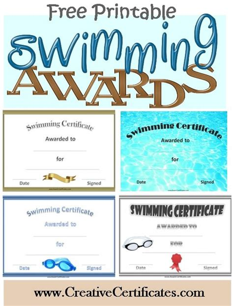 free printable swimming certificates and awards sports