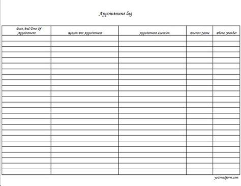 appointment log template fillable appointment log pdf digital health forms