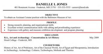Job Resume Profile Examples by Writing Your Resume Hood College