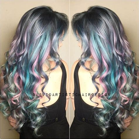 silver blue hair on pinterest lemon hair highlights curly silver hair with pink purple and blue highlights
