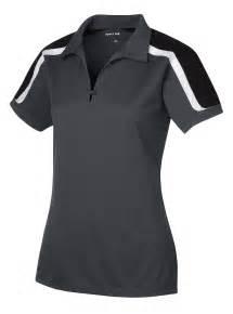 womens tri color shoulder 1 button placket moisture