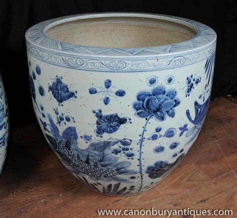 Blue And White Pottery Planters by Pair Blue White Porcelain Planters Bowls Nanking Pottery