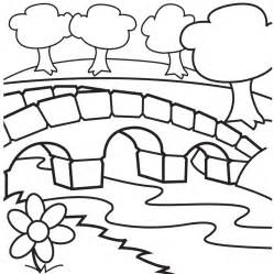 Cartoon Stone Bridge Water Under Coloring sketch template