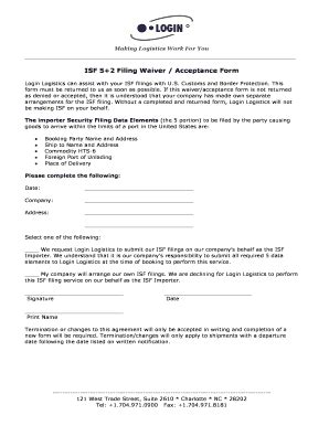 Isf Acceptance Letter Fill Online Printable Fillable Blank Pdffiller Isf Form Template