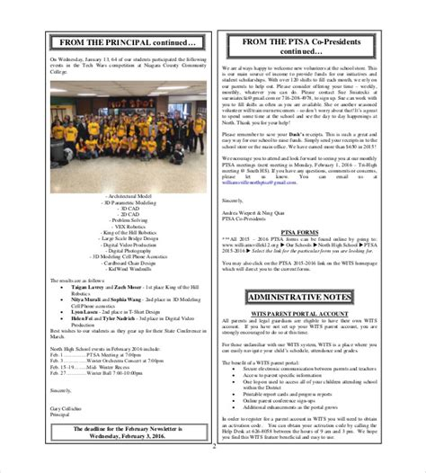 high school newsletter template school newsletter template 9 word pdf psd documents