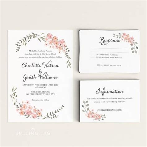 Invitation Letter Rsvp Printable Wedding Invitation Set Watercolor Floral Garden Ready To Print Pdf Rsvp Card
