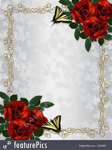 illustration of red roses butterflies border