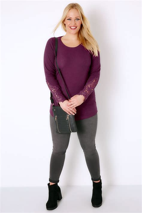 Sleeve Detail T Shirt purple sleeve t shirt with crochet detail plus size