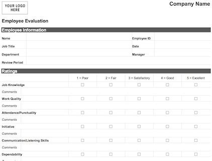 Easy Employee Evaluation Form Word Pdf Print Download New Employee Evaluation Template