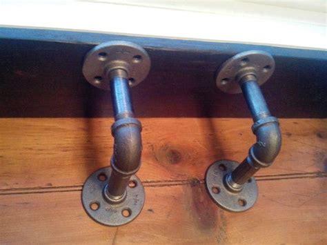 Pipe Shelf Brackets by 2 Black Iron Steel Industrial Pipe Shelf Brackets