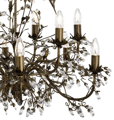 Almandite 12 Light Brown Gold Large Chandelier With Brown Chandeliers
