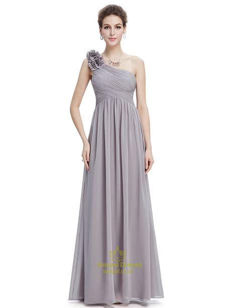 Shoulder Chiffon Dress grey chiffon one shoulder flower bridesmaid