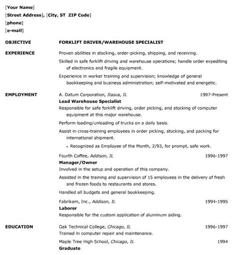 warehouse resume templates how to write a resume for a warehouse resume ideas