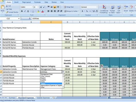 rental property income statement template vrbo accounting excel worksheet excel template for