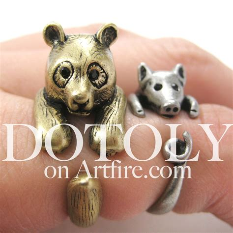Zebe Piyama Panda Edition Size 12 3d panda ring in bronze sizes 5 to 9 available 183 dotoly animal jewelry 183 the animal wrap