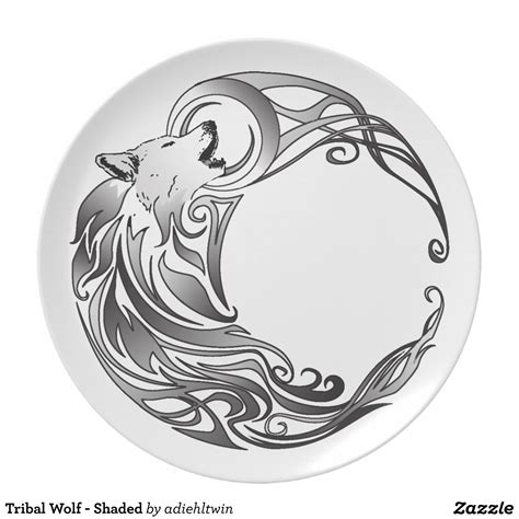 tribal tattoo shaded tribal wolf shaded dinner plates tattoos