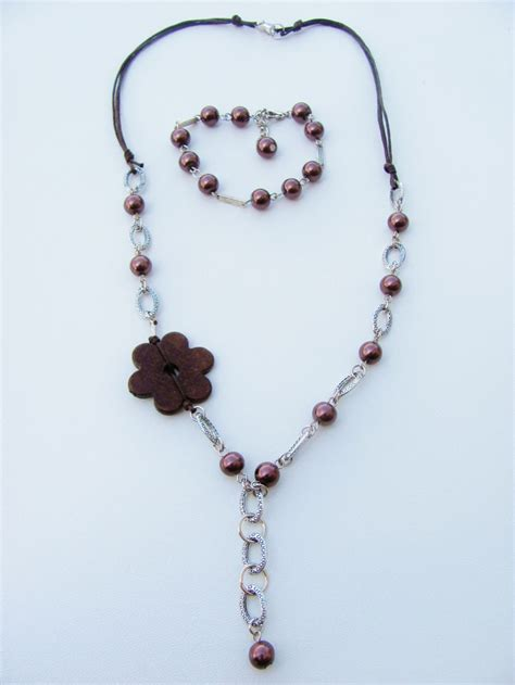 Brown Pearl Beads Flower Chain Necklace Bracelet Set