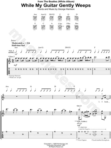 Chords While My Guitar Gently Weeps