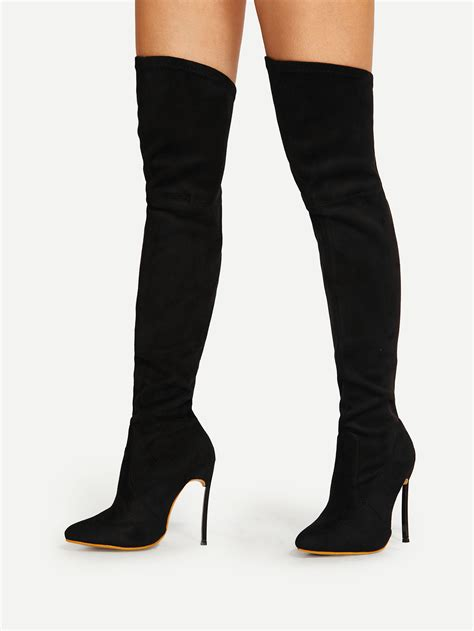 high heeled boots pointed toe stiletto heeled thigh high boots shein sheinside