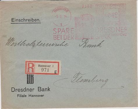 dresdner bank hannover philaseiten de briefe deutscher banken