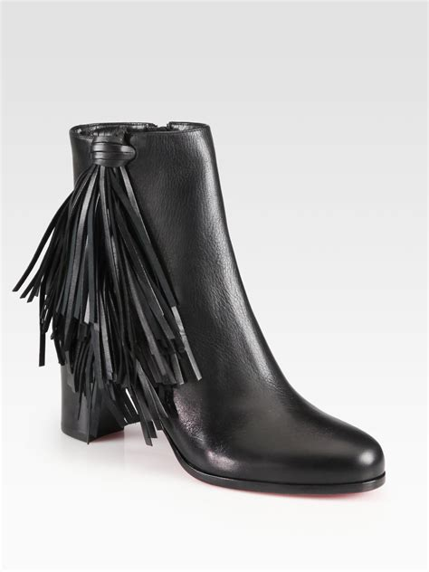 black fringe ankle boots christian louboutin jimmynetta fringe leather ankle boots