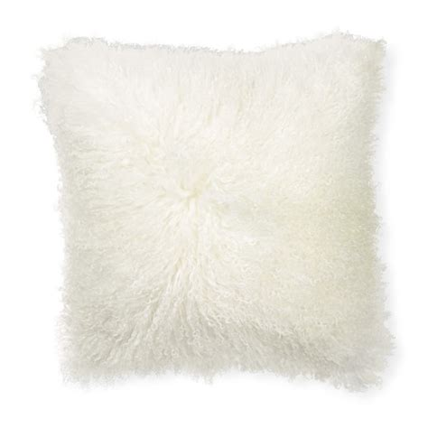 Mongolian Wool Pillow by Mongolian Lambswool Pillow Cover Ivory Williams Sonoma
