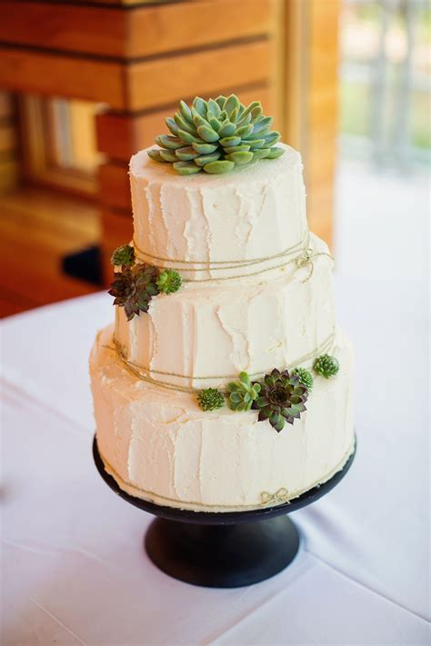 this buttercream and succulent decorated wedding cake is