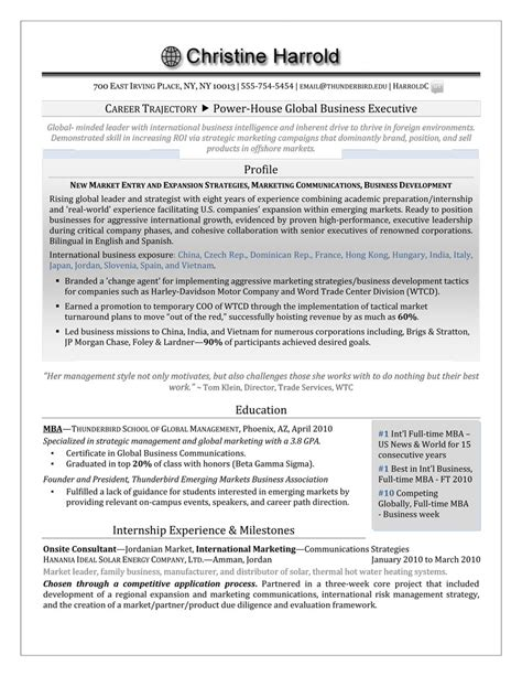 Can Mba Resume Be 1 Page by Mba Grad Resume Premium Executive Resume Writing Service