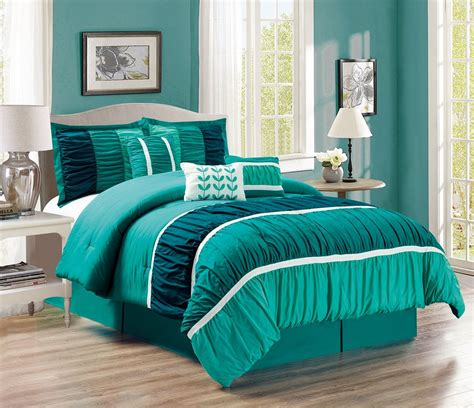 11 Piece Ruched Teal Green Bed In A Bag Set Green Bed