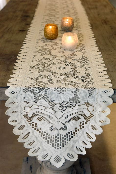 table runner lace ivory