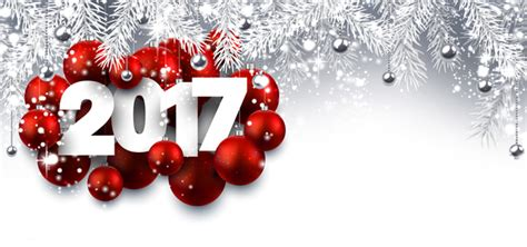 2017 red christmas ball with new year shining background