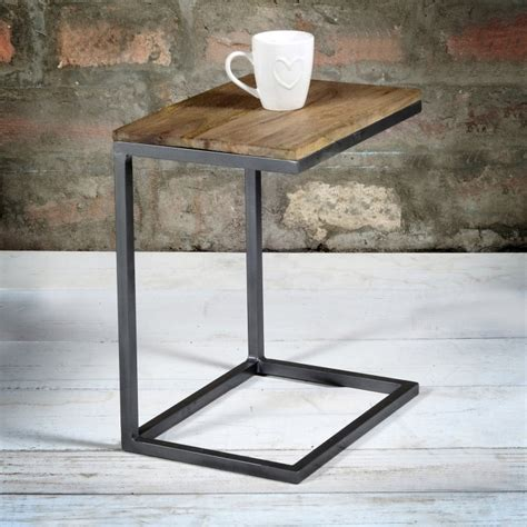small metal side table suri modern industrial small side table in mango wood