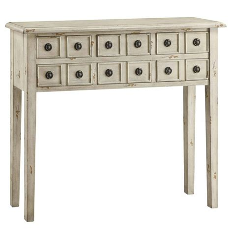birch console table newcastle 6 drawer antique white mdf and solid birch