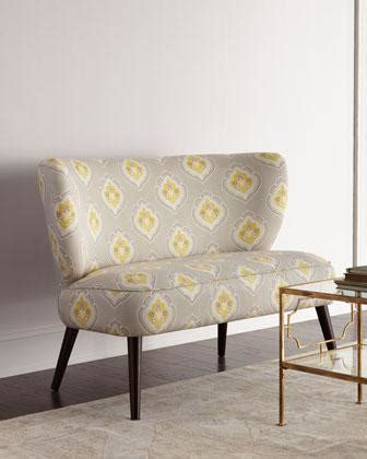 yellow patterned settee skyline furniture linen tufted swoop arm settee wayfair