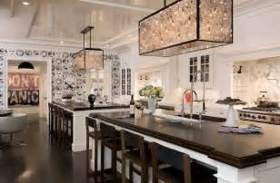 With Double Kitchen Islands, Beveled Butcher Block Counter Tops, White