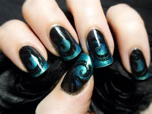 Shades Of Blue Design slightly steampunk tentacle nail art the adorned claw