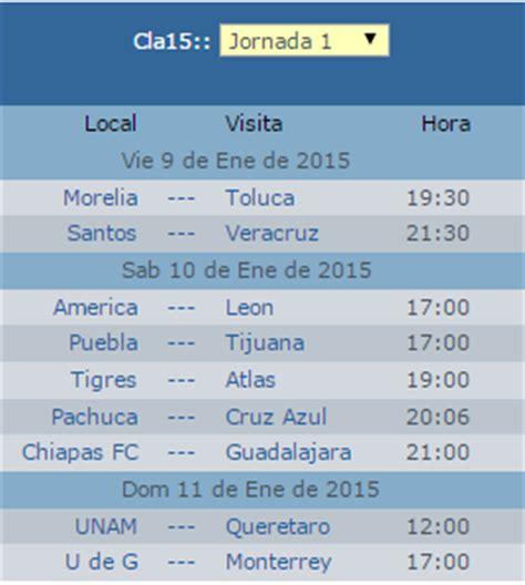 calendario jornada 12 del futbol mexicano apertura 2016 fechas y horarios calendario clausura 2015 liga mx