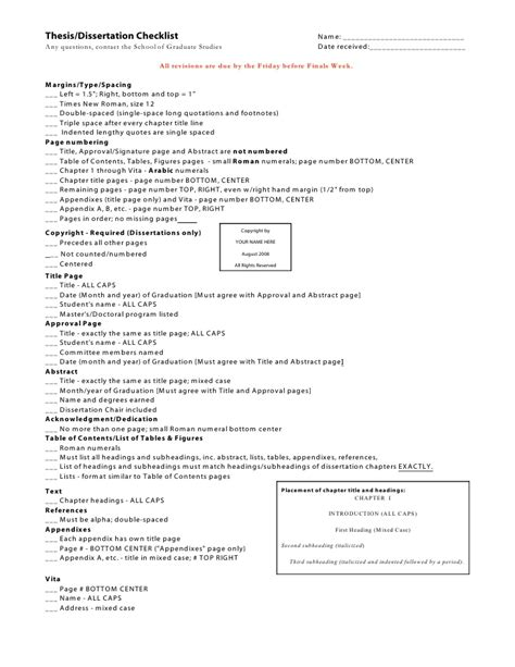 dissertation subheadings dissertation checklist 2 1