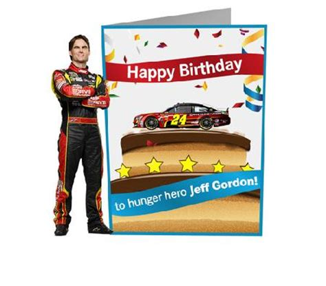 Jeff Gordon Birthday Card Sign Hunger Hero Jeff Gordon S Birthday Card Aarp