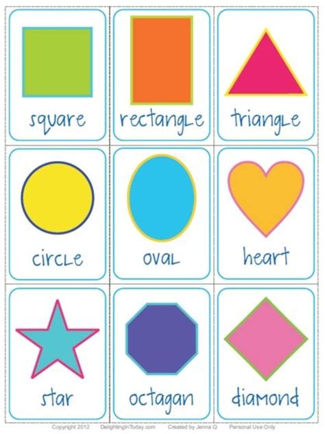 Card Shapes Templates by Free Shape Flashcards And Printable Delighting