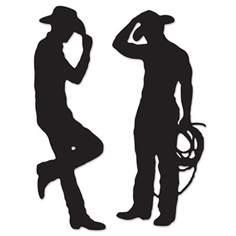 cowboy and cowgirl silhouette cowboy silhouette cutouts 2 per package partycheap