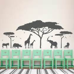 Wildlife Wall Stickers African Safari Animal Wall Sticker Tree Wall Decal Nature