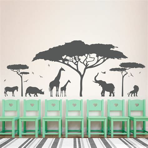 animal wall stickers for bedrooms african safari animal wall sticker tree wall decal nature giraffe wall art nursery