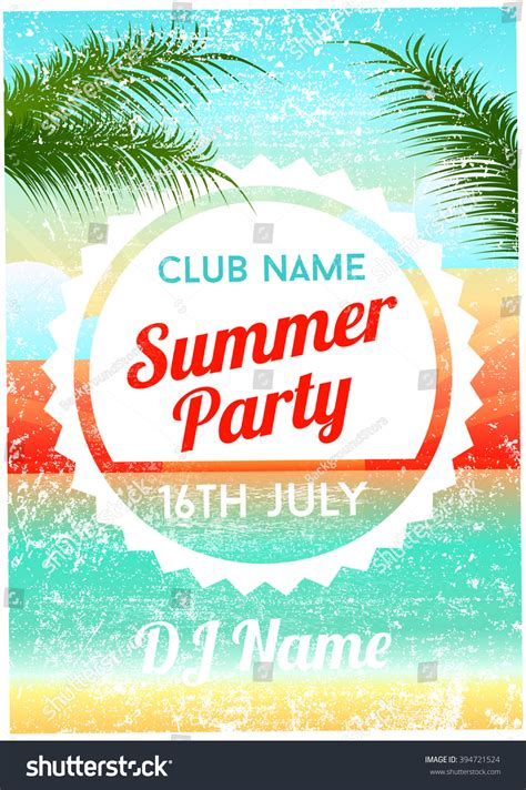 Summer Party Poster Flyer Template Stock Vector 394721524 Shutterstock Summer Poster Template