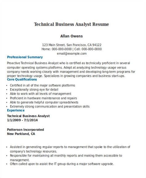 Technical Business Analyst Resume Sles 50 Business Resume Exles Free Premium Templates