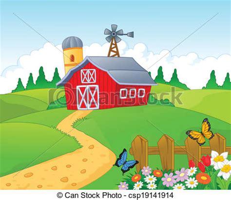 Large Farmhouse Plans by Vector Clip Art Of Farm Cartoon Background Vector